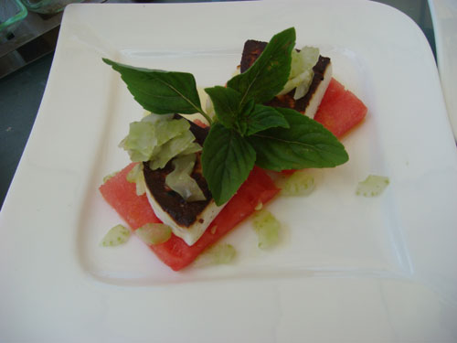 Watermelon topped with grilled feta