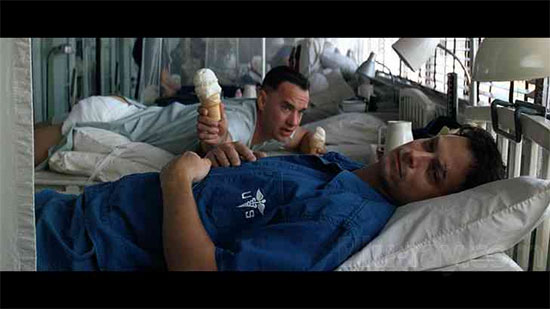 I feel how Lieutenant Dan looks right about now. Ice cream would make me feel better, though.